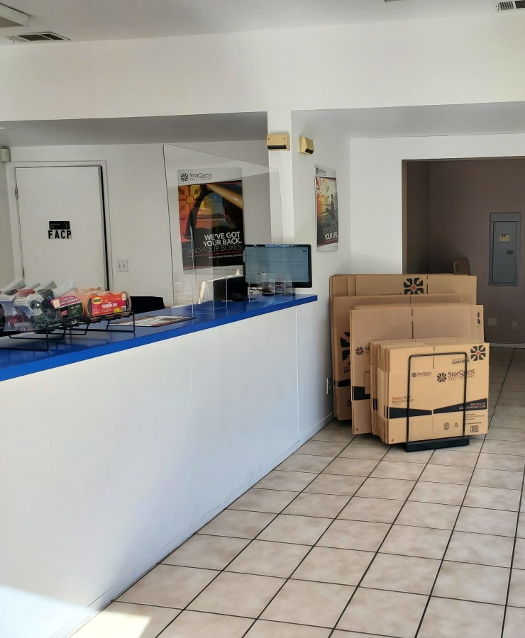 Interior of the leasing office at StorQuest Self Storage in Vallejo, California