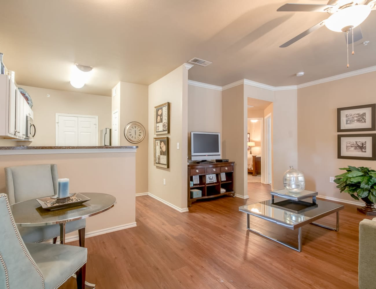 Open-concept layout with hardwood floors at Alon at Castle Hills in San Antonio, Texas