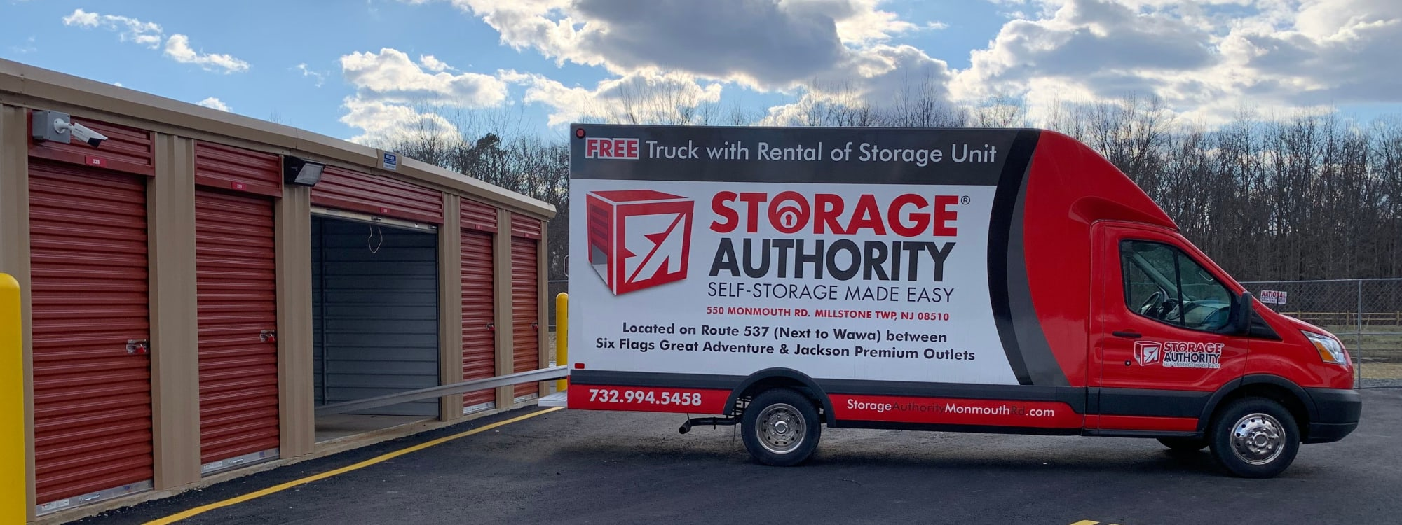 Moving truck at Storage Authority Monmouth Rd in Millstone Township, New Jersey.