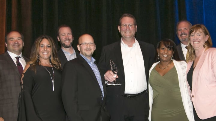 Executive leaders from The Summit in Hockessin, DE accept the Pinnacle Award for outstanding community performance at the 2019 Pillars of Excellence Awards Ceremony. Discovery Senior Living CEO Richard J. Hutchinson and Vice President of Marketing and Sales Diana Ferrante-Theis presented the award.
