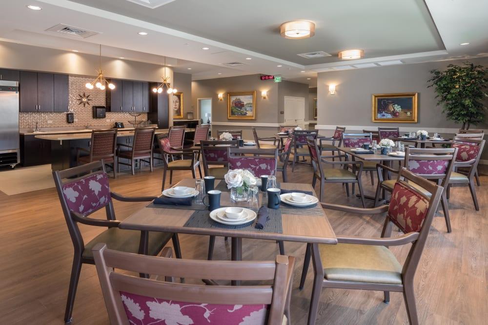 Dining room tables at Avenir Memory Care at Summerlin in Las Vegas, Nevada.