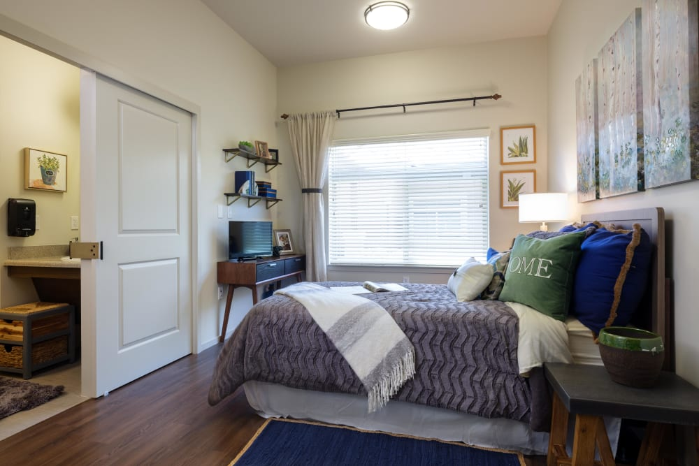 A private bedroom at Avenir Memory Care at Summerlin in Las Vegas, Nevada