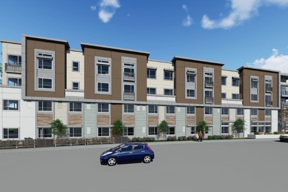 A rendering of the parking lot and exterior of Elegance at Dublin in Dublin, California