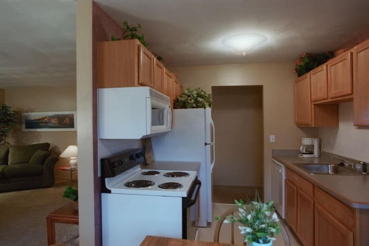 Living room and kitchen at Lake Vista Apartments in Rochester, New York