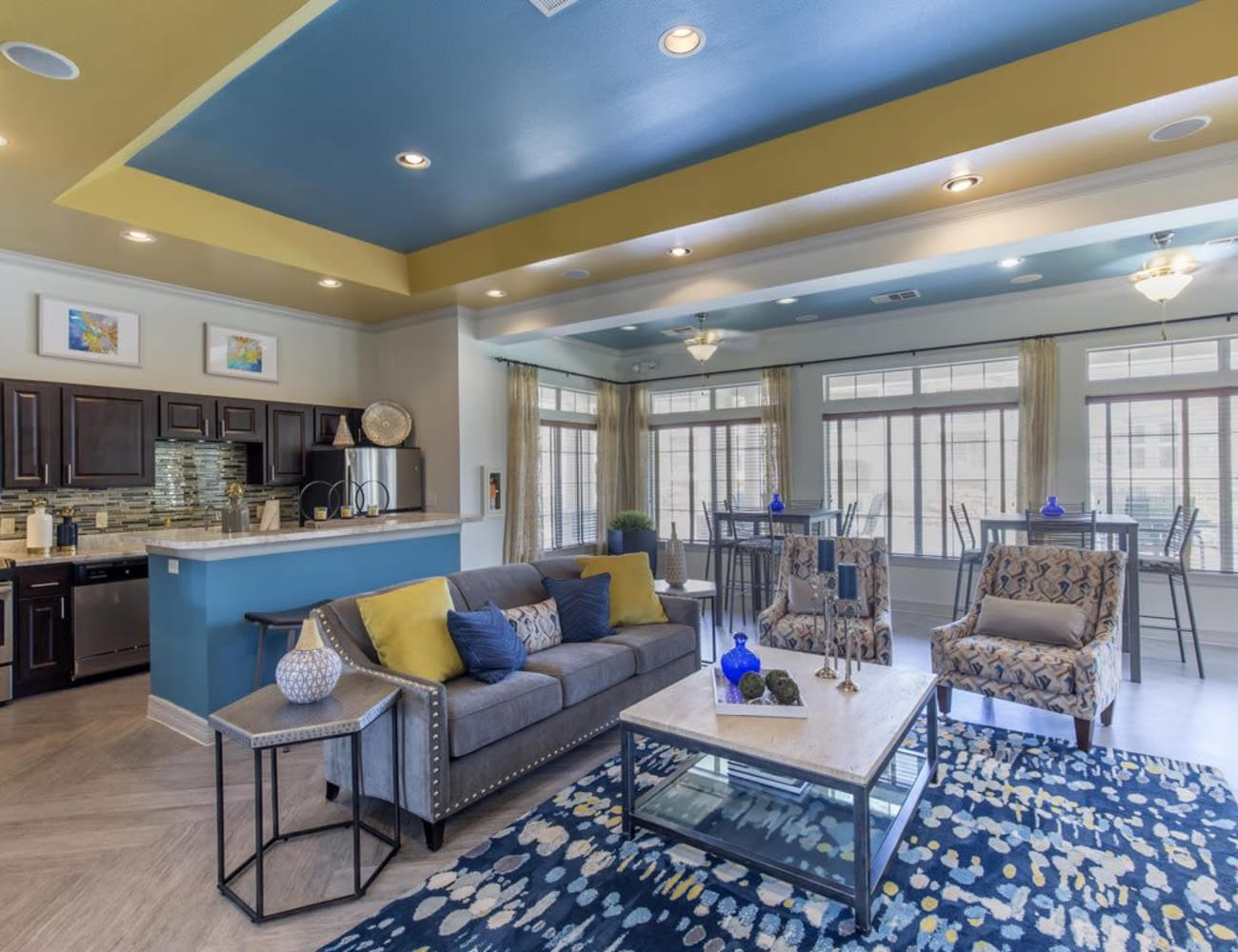 Resident lounge with plenty of comfortable chairs at Ranch at Hudson Xing in McKinney, Texas
