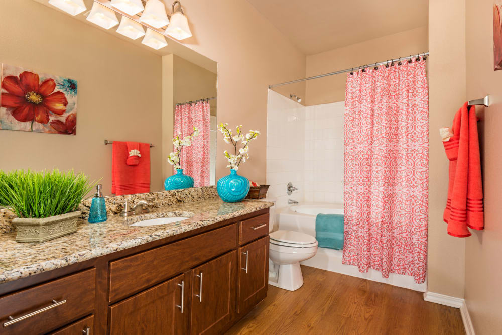 Beautiful bathroom at Mira Vista at La Cantera in San Antonio, Texas