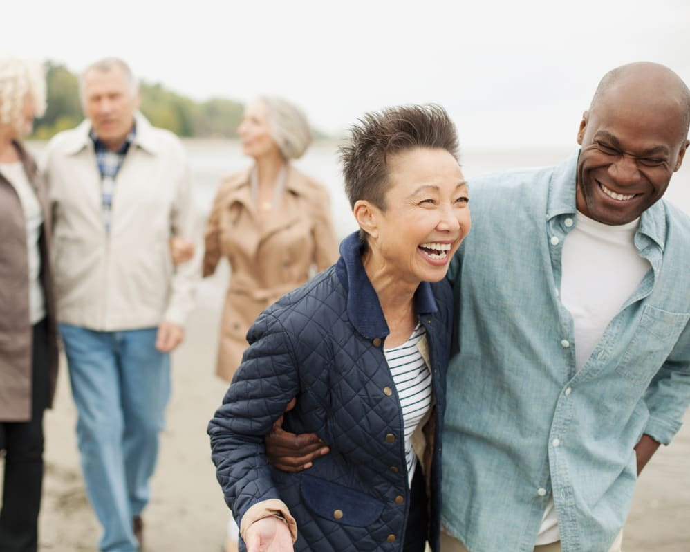 Group of seniors walking by the water near Anthology of Mayfield Heights - NOW OPEN! in Mayfield Heights, Ohio