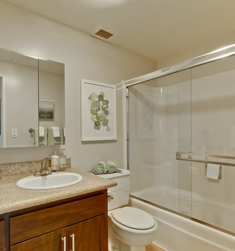 Modern bathroom with wood-style cabinetry in a model home at The Marc, Palo Alto in Palo Alto, California