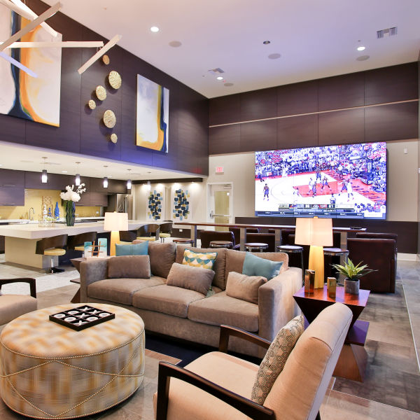 Lavish theater room with plenty of comfortable seating for everyone at Slate Scottsdale in Phoenix, Arizona