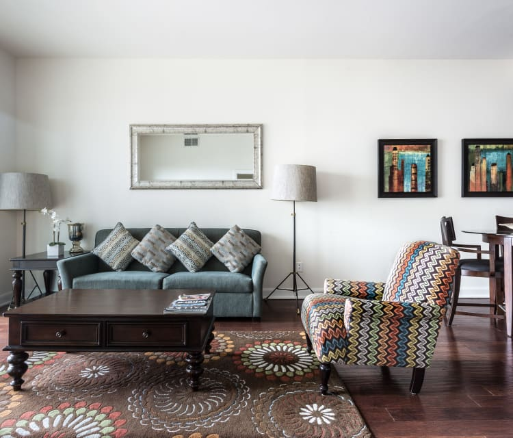 Bold colors and patterns in an model living room at The Heights at Park Lane