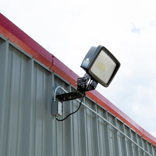 Bright exterior lighting at Red Dot Storage in Decatur, Illinois