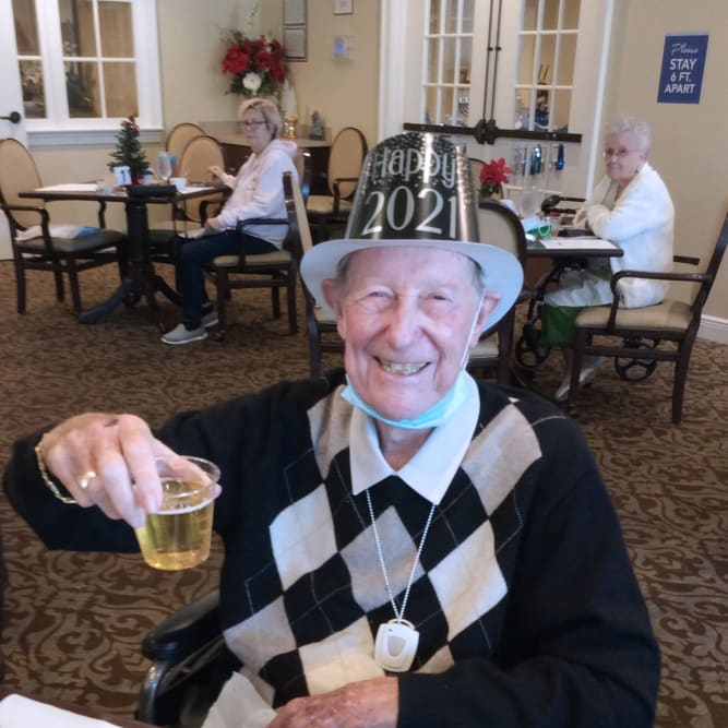 Resident Celebrating
