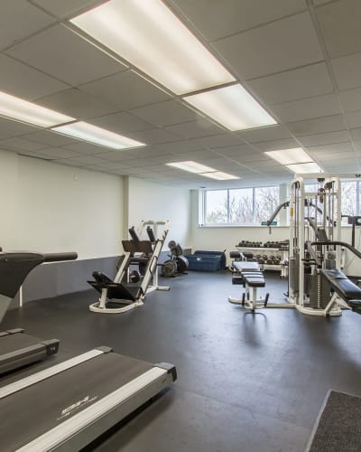 Stay healthy in our fitness center at The Meadows Apartments in Syracuse, NY