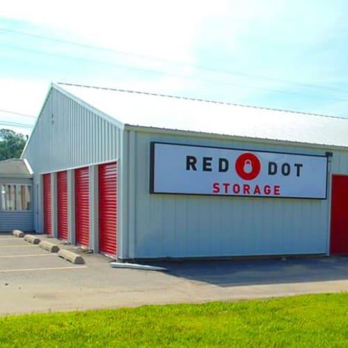 Outdoor storage units at Red Dot Storage in Adel, Iowa