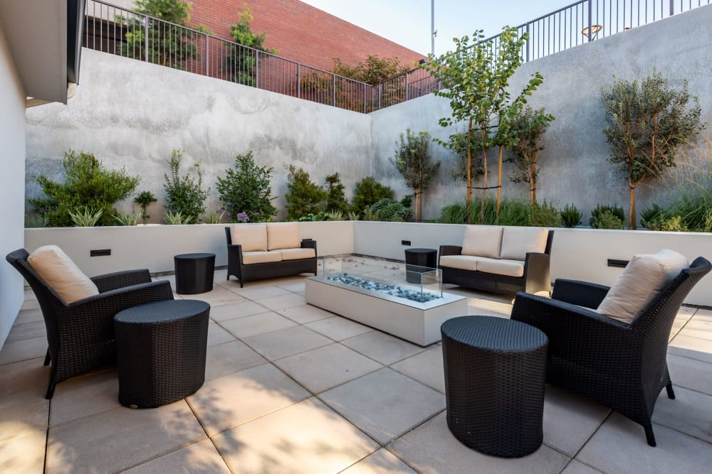 patio seating with outdoor firepit