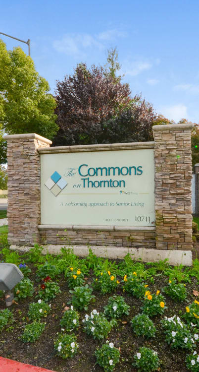 Landscaped grounds around The Commons on Thornton in Stockton, California
