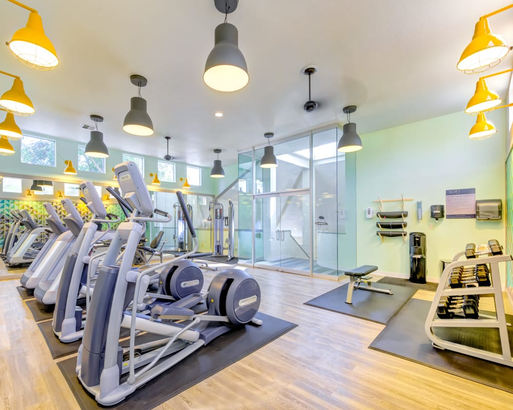 Well-equipped onsite fitness center at Sofi Irvine in Irvine, California