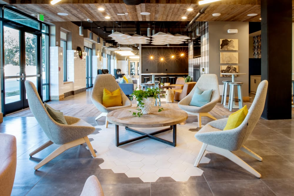 Cozy clubhouse lounge at 511 Meeting in Charleston, South Carolina