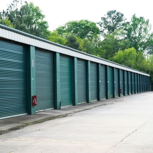 Outdoor storage units with green doors at Red Dot Storage in DeKalb, Illinois