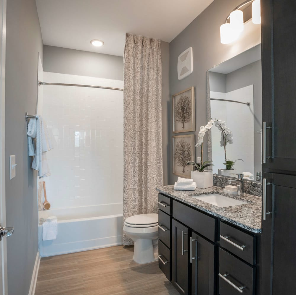 Spacious bathroom with an oval tub at Elevate at Brighton Park in Summerville, South Carolina