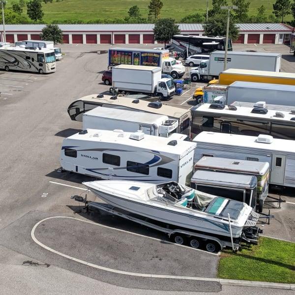 Vehicle parking spaces at StorQuest Self Storage in Naples, Florida