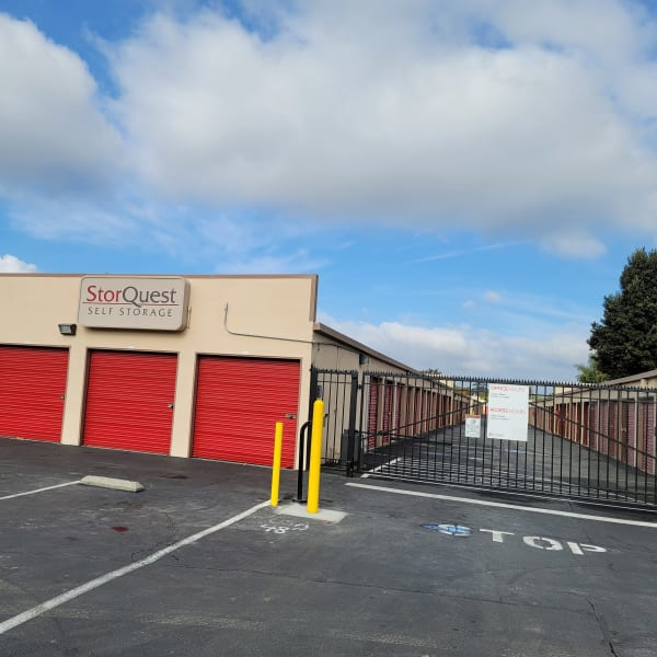 Outdoor storage units with electronic gate access at StorQuest Self Storage in San Leandro, California