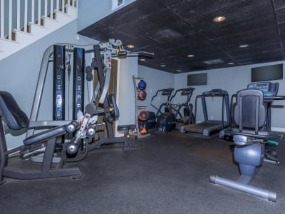 Well-equipped and recently renovated onsite fitness center at The Bentley at Marietta in Marietta, Georgia