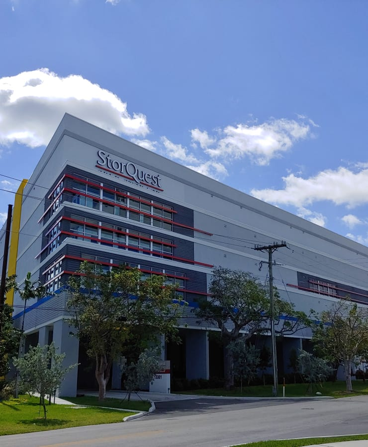 The exterior of the main entrance at StorQuest Self Storage in Miami, Florida