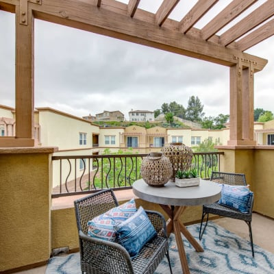 Private balcony outside an apartment home with a terrific view of the neighborhood at Sofi at Topanga Canyon in Chatsworth, California
