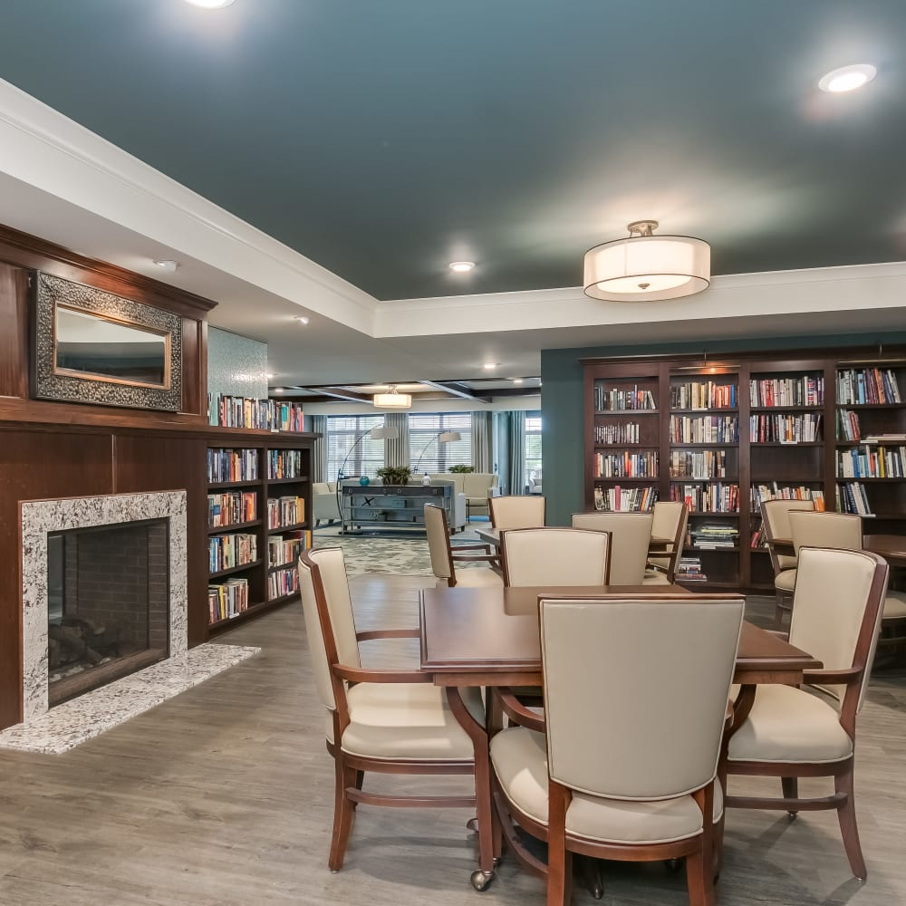The library at Applewood Pointe of Eagan in Eagan, Minnesota.