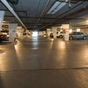 Underground parking at Fraser Tolmie Apartments in Victoria, British Columbia