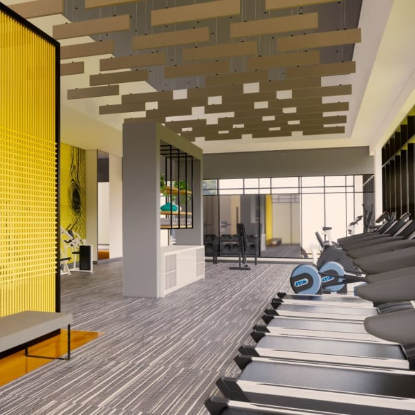 Rendering of fitness center at The Piedmont in Tempe, Arizona