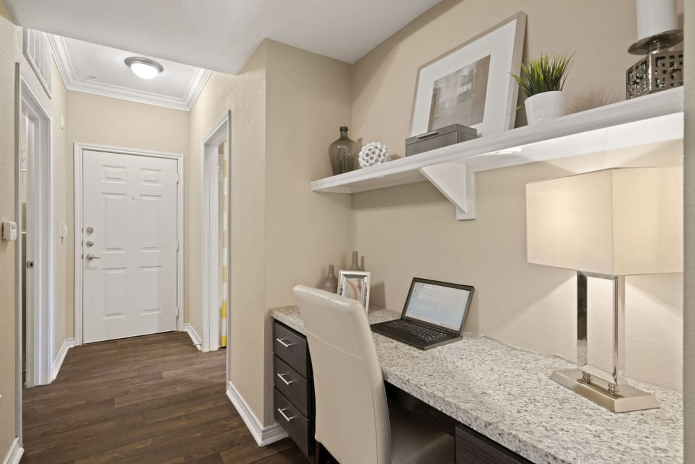 At home workspace at Southwind at Silverlake Apartments in Pearland, Texas