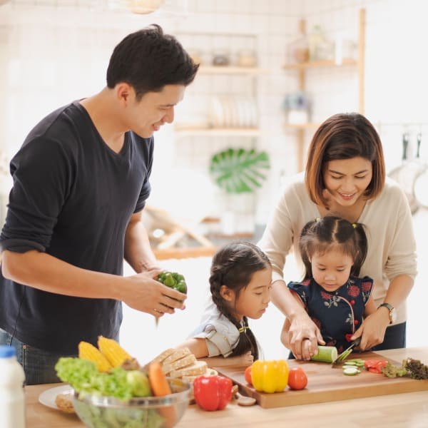 A family learning to cook together at Mountain Trail in Flagstaff, Arizona