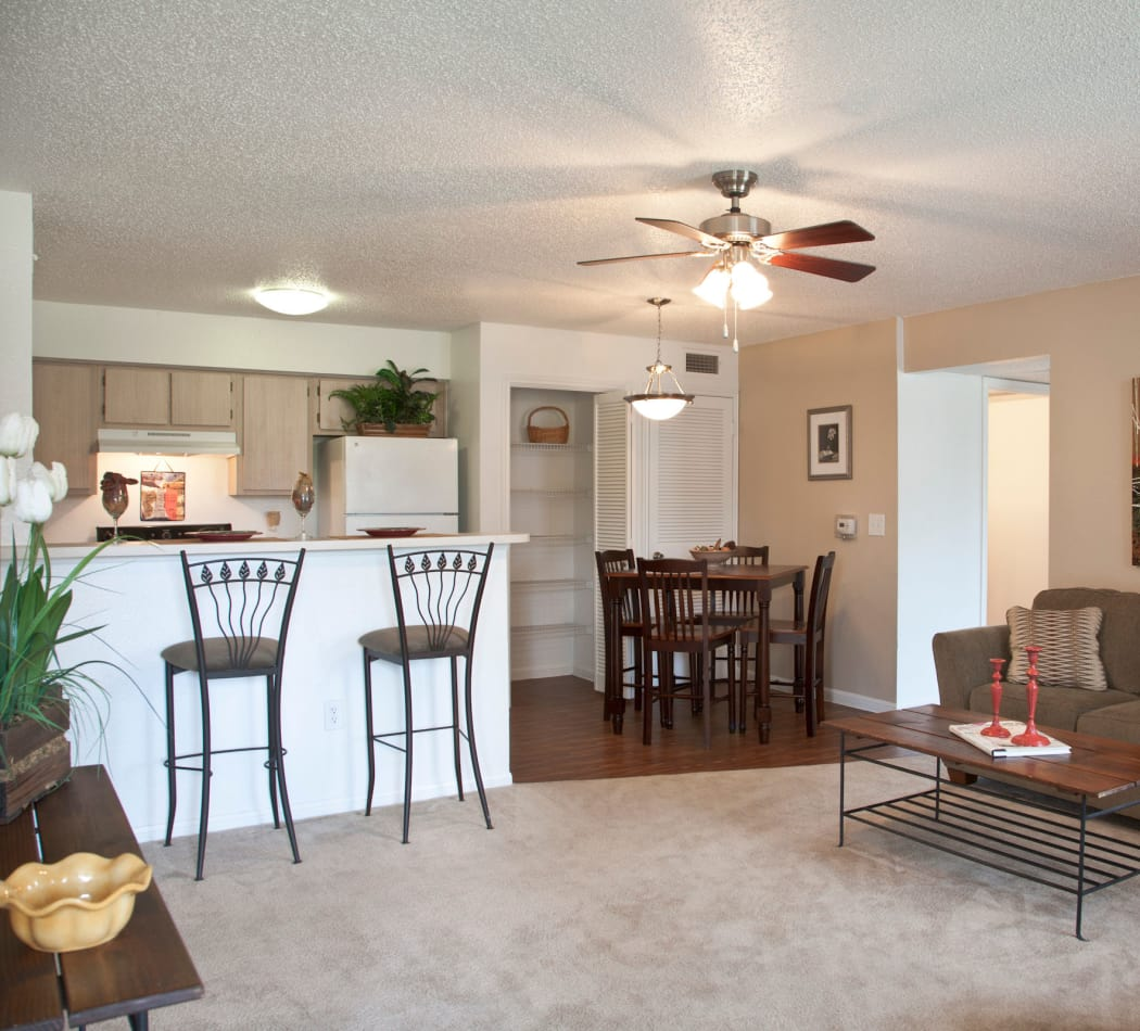 Well-decorated open-concept floor plan with ceiling fan in model home at Montelena in Round Rock, Texas