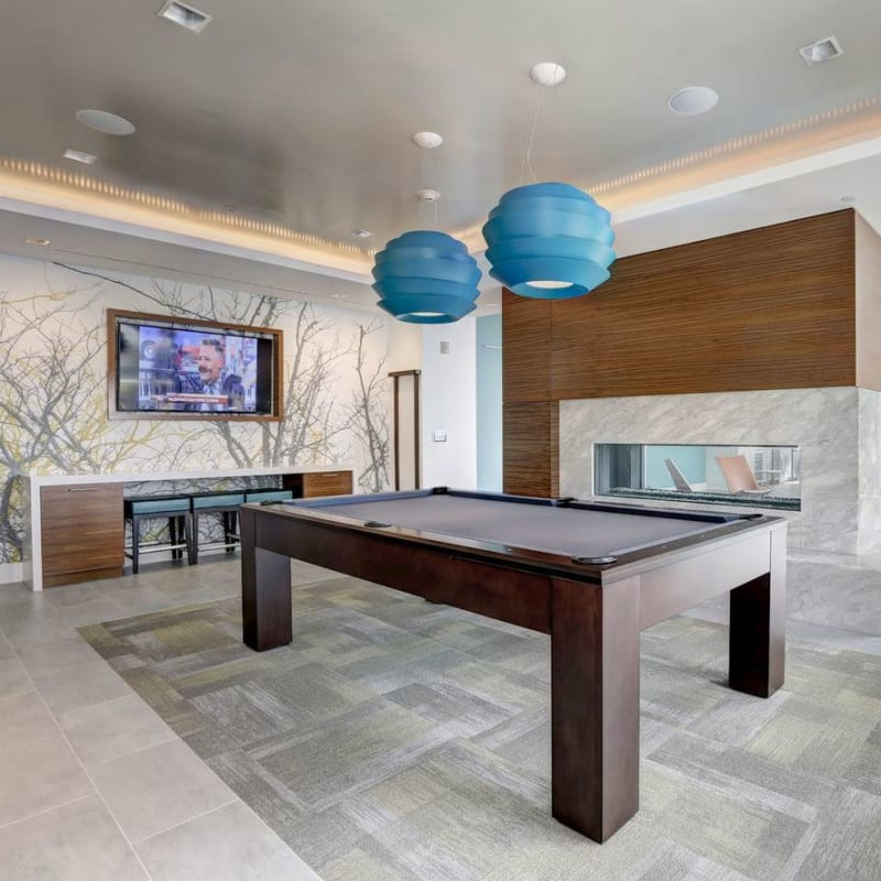 A modern pool table for resident use at Solaire 7077 Woodmont in Bethesda, Maryland
