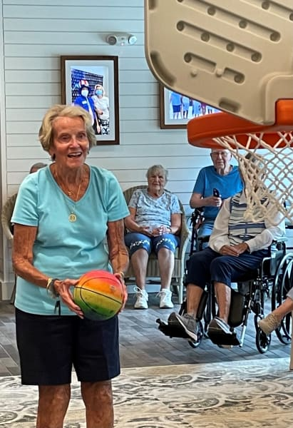 One Carolina Park resident steps up to the line and gets ready to take her shot during basketball.