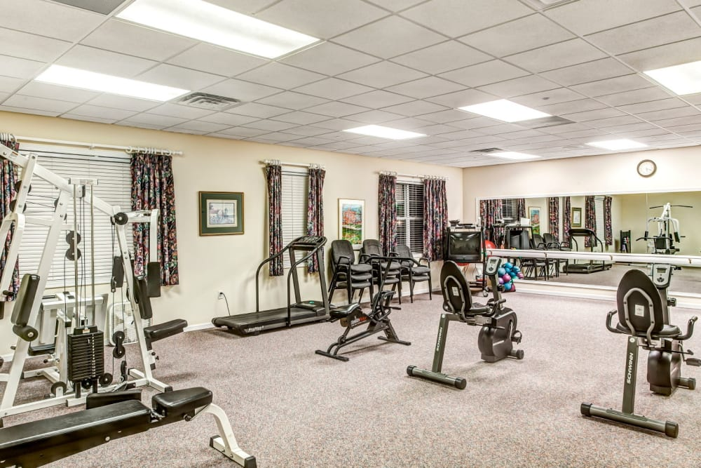 Deluxe weight room at Grand Victorian of Rockford in Rockford, Illinois