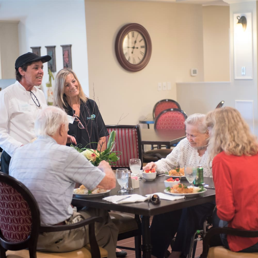 Residents dining at Inspired Living Royal Palm Beach in Royal Palm Beach, Florida