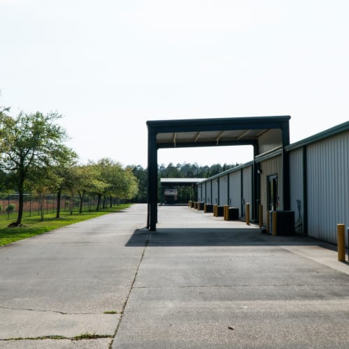 Outdoor storage units at Red Dot Storage in Covington, Louisiana