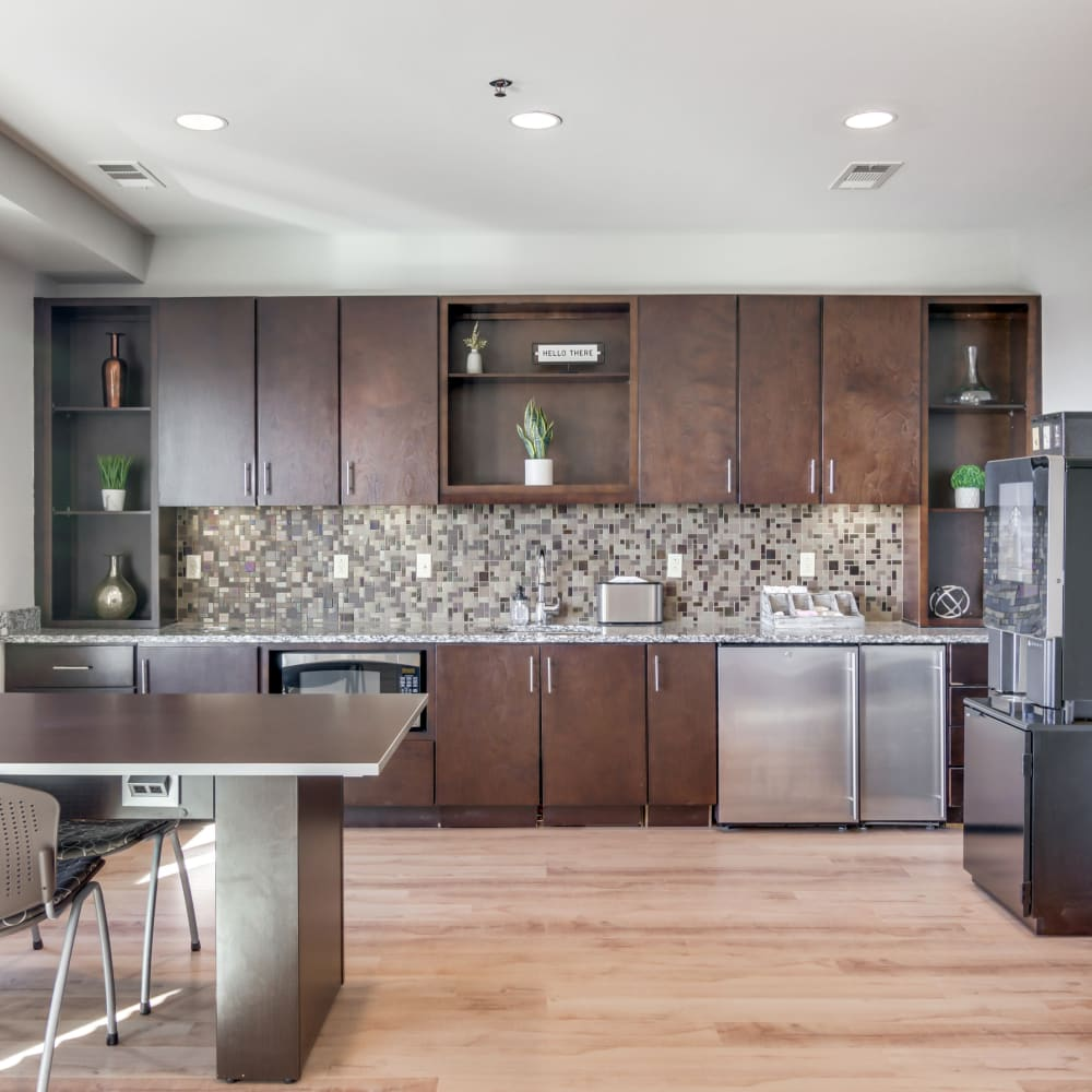Community kitchen at 12 South Apartments in Nashville, Tennessee