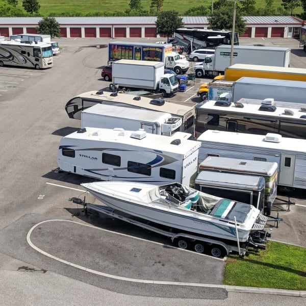 Outdoor RV, boat, and auto parking at StorQuest Self Storage in Stockton, California
