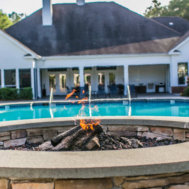 Cozy outdoor firepit at Bryant at Summerville in Summerville, South Carolina