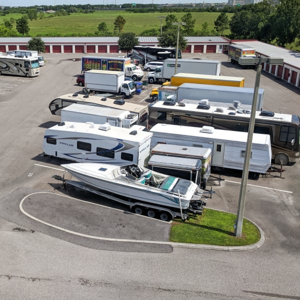 Outdoor boat, rv, trailer, and auto parking at StorQuest Self Storage in Port Chester, New York