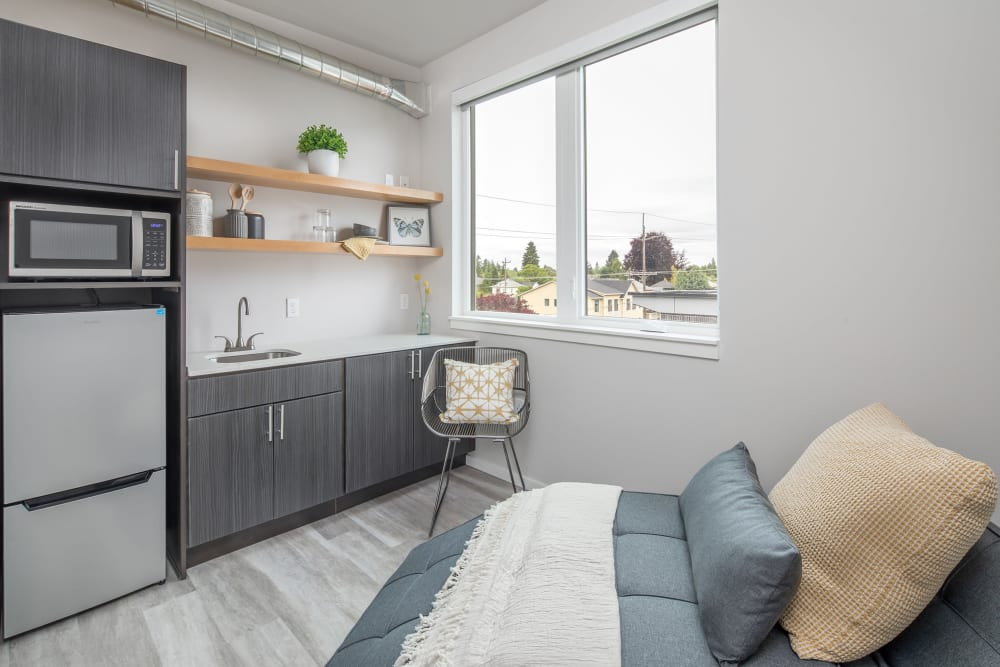 Cozy kitchen with a view at Ascend in Portland, Oregon