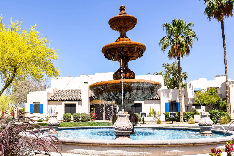 Fountain at Casa Santa Fe Apartments in Scottsdale, Arizona