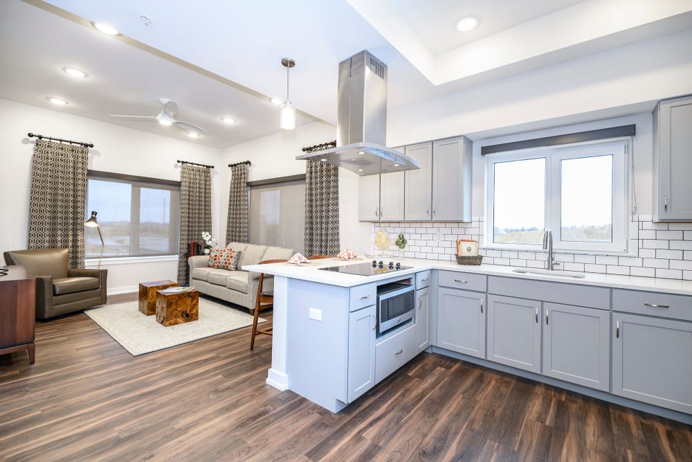Photo of Kitchen That Oversees Living Room