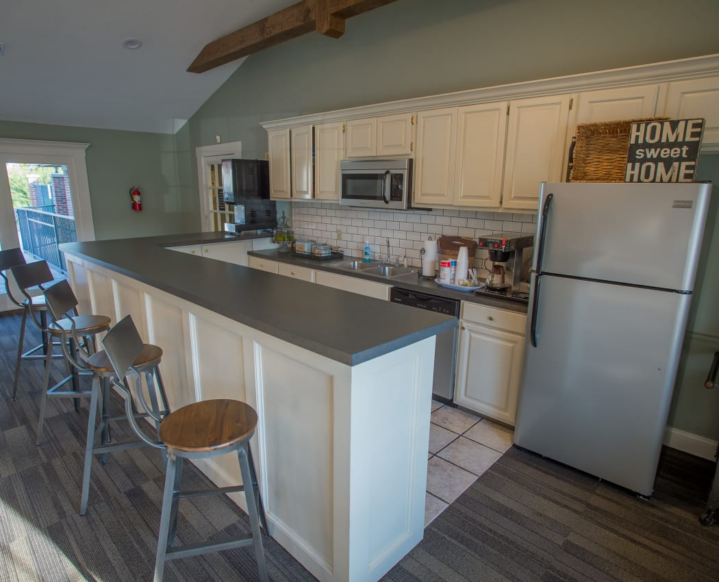 Well-equipped kitchen in the resident clubhouse at The Greens of Bedford in Tulsa, Oklahoma