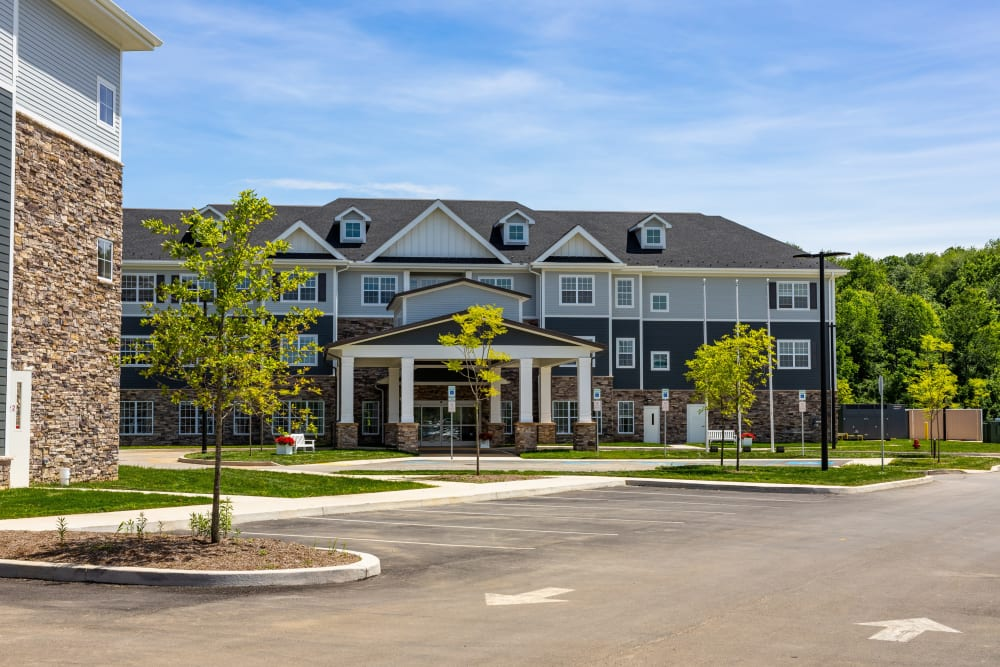 The parking lot and exterior of Harmony at State College in State College, Pennsylvania
