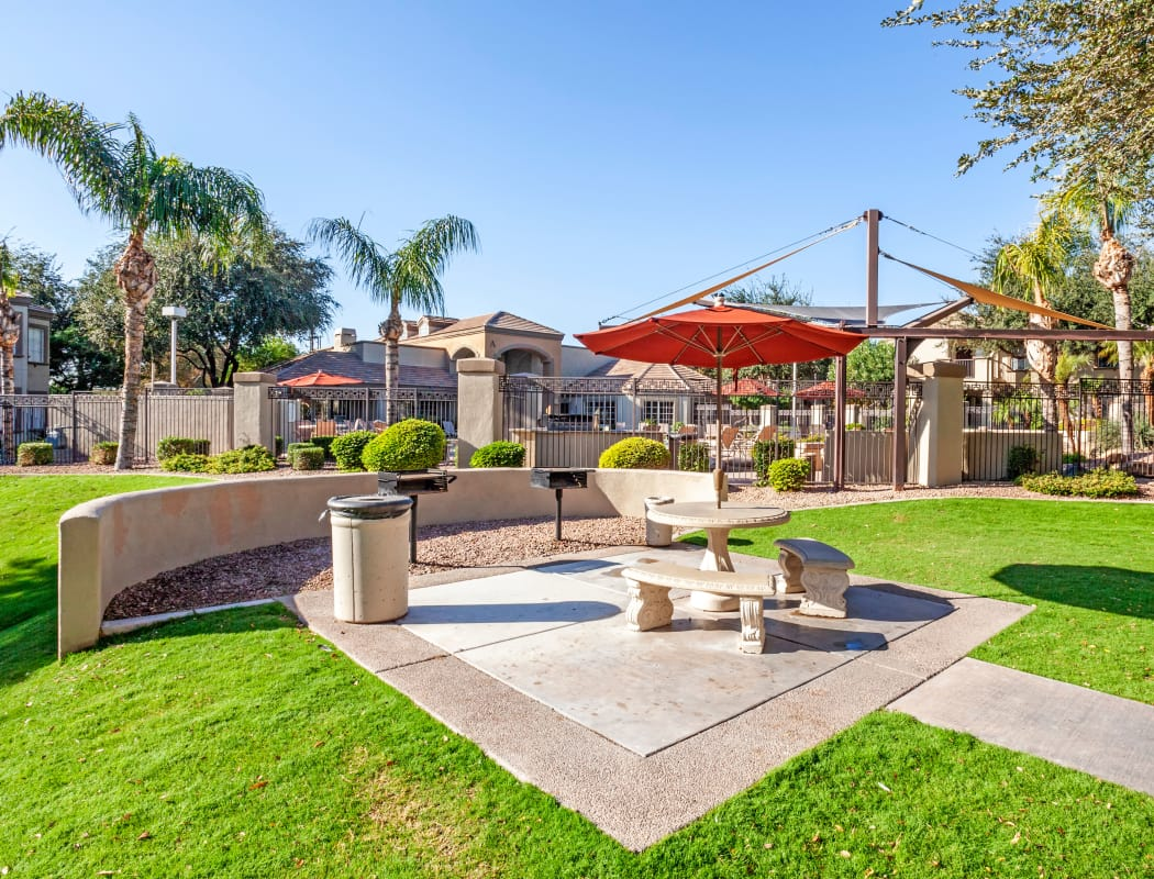 Picnic area with gas barbecue grills at Finisterra in Tempe, Arizona